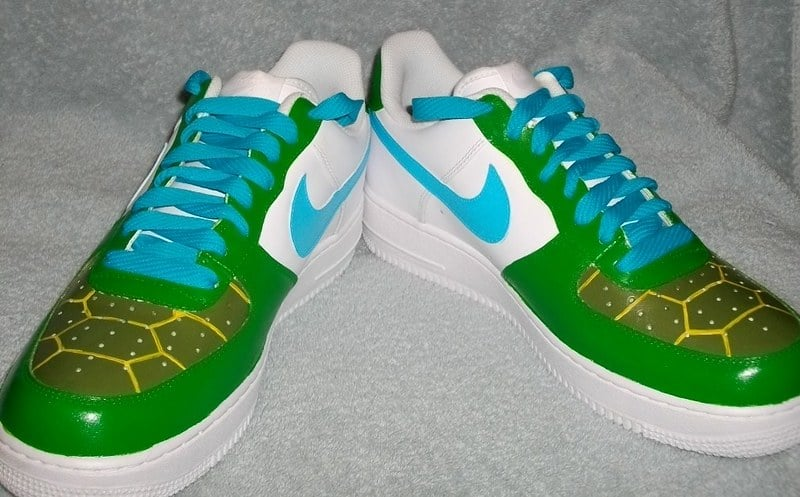 acrylic paint on leather shoes